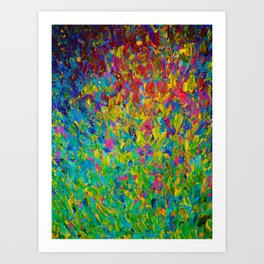 RAINBOW FIELDS - Colorful Abstract Acrylic Painting Ocean Waves Blue Teal Magenta Nature Fine Art Art Print