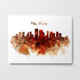 New Orleans watercolor skyline Metal Print