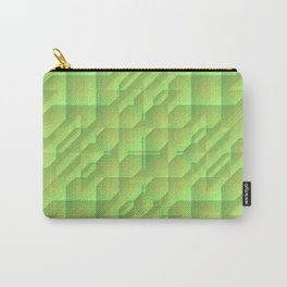 Green/Tan Pattern with a Raised Appearance Carry-All Pouch