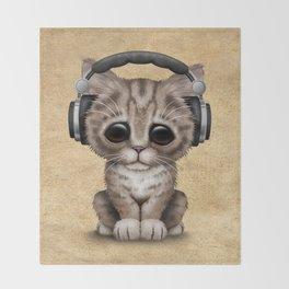 Cute Kitten Dj Wearing Headphones Throw Blanket