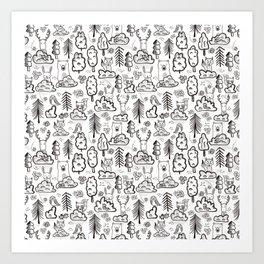 Woodland Animals Large Art Print