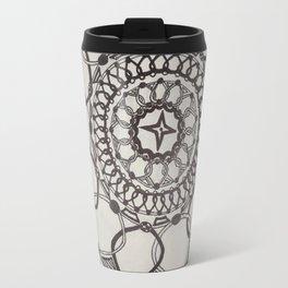 Black and White Medallions Travel Mug