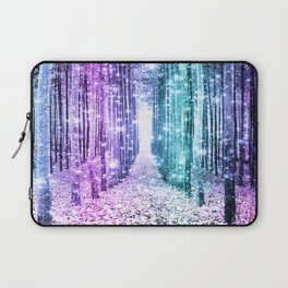Magical Forest Lavender Aqua Teal Ombre Laptop Sleeve