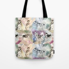 Malamute Dogs in Pastel Pattern Tote Bag