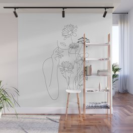 Minimal Line Art Woman with Flowers III Wall Mural