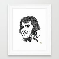 elvis presley Framed Art Prints featuring Elvis Presley by The Curly Whirl Girly.