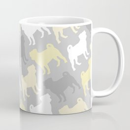 Grey and Yellow Pugs Pattern Coffee Mug