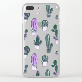 Modern hand painted forest green pink lilac watercolor cactus Clear iPhone Case