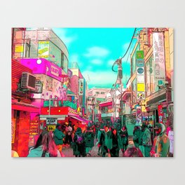 Harajuku (Takeshita Street) Anime Style Canvas Print