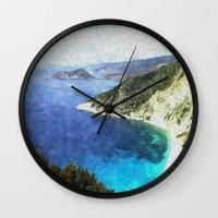 greek Wall Clocks featuring Greek coastline by Brian Raggatt