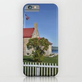 Mackinac Bridge and Mackinaw Lighthouse iPhone Case