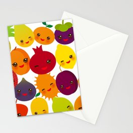 kawaii fruit Pear Mangosteen tangerine pineapple papaya persimmon pomegranate lime Stationery Cards