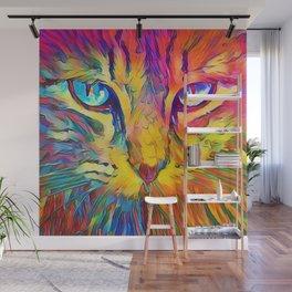 Neon Rainbow Cat Wall Mural