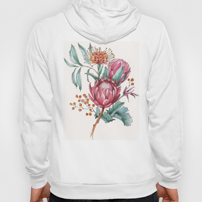 King protea flowers watercolor illustration Hoody