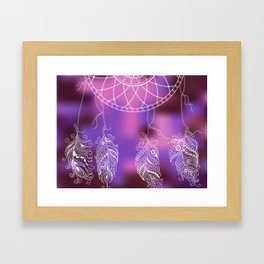 violet ethnic pattern with feathers Framed Art Print