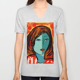Portrait of the blue girl with red hair with orange and yellow Unisex V-Neck