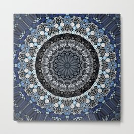 Dark Blue Grey Mandala Design Metal Print