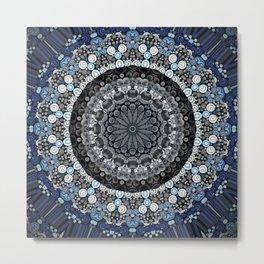 Dark Blue Grey Mandala Design Metal Print