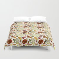 pizza Duvet Covers featuring Pizza by nerdwaffles