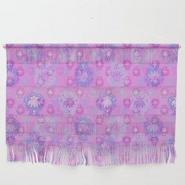 Lotus flower - rich rose woodblock print style pattern Wall Hanging