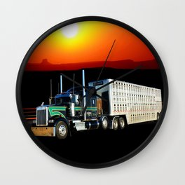 18 Wheeler Semi Truck With Cattle Hauling Trailer and Sunset Wall Clock