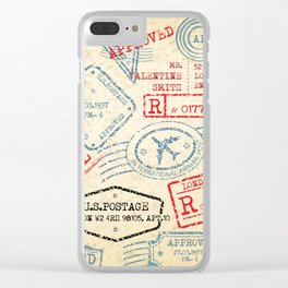 Retro Stamp Clear iPhone Case