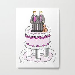 Two grooms and a dog on a wedding cake. Metal Print