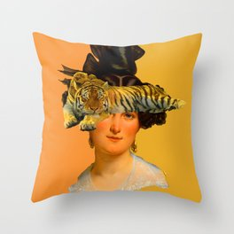 GENTLEWOMAN FACE WITH SLEEPING TIGER I Throw Pillow