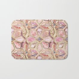 Geometric Gilded Stone Tiles in Blush Pink, Peach and Coral Bath Mat