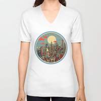 skyline V-neck T-shirts featuring philadelphia by Bekim ART