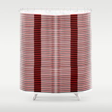 Black and red lines background Shower Curtain