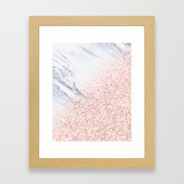 She Sparkles Rose Gold Pink Marble Luxe Geometric Framed Art Print