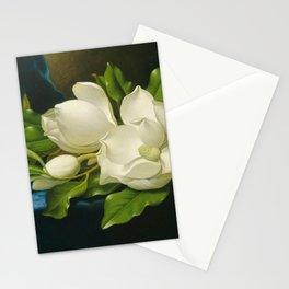 Martin Johnson Heade - Giant magnolias on a blue velvet cloth Stationery Cards