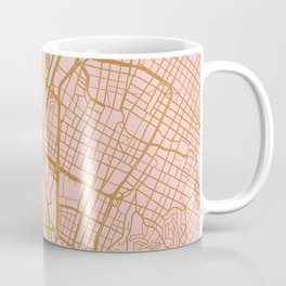Pink and gold Medellin map, Colombia Coffee Mug