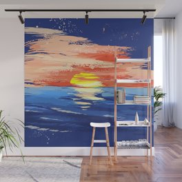 Painted sunset on sea Wall Mural