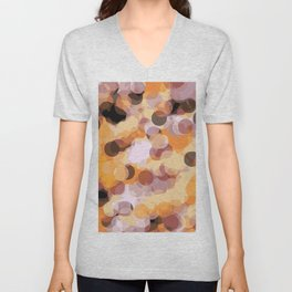 orange brown and black circle abstract background Unisex V-Neck
