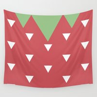 strawberry Wall Tapestries featuring Strawberry by According to Panda