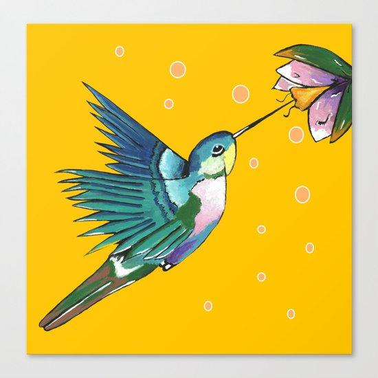 Hummingbird Yellow Canvas Print
