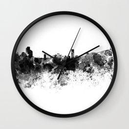 Seoul skyline in black watercolor Wall Clock