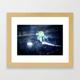 Luminous dragonfly macro, like a firefly at night Framed Art Print