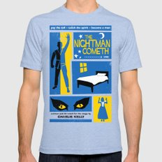 The Nightman Cometh Mens Fitted Tee Tri-Blue LARGE