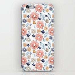 Orange & Navy Floral Pattern iPhone Skin