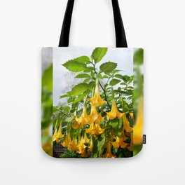 Big yellow Brugmansia called Angels Trumpets Tote Bag