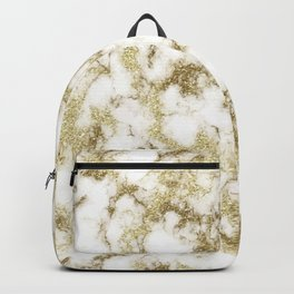 Golden glitter marble texture Backpack