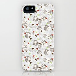 Cinnamon Swirls and Hearts - Gray-Chocolate-Red-Green iPhone Case