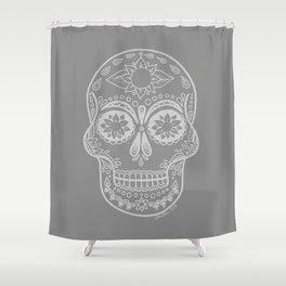 Grey Sugar Skull Shower Curtain