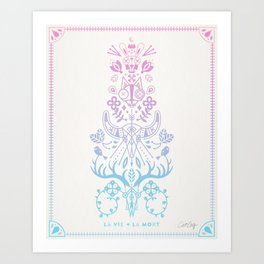 La Vie + La Mort: Rose Quartz & Serenity Ombré Art Print