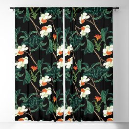 Moody retro floral pattern Blackout Curtain