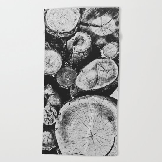 Cut wood II -Scandinavian art Beach Towel