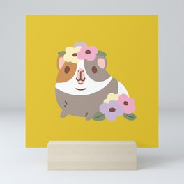 Guinea pig and flowers Mini Art Print